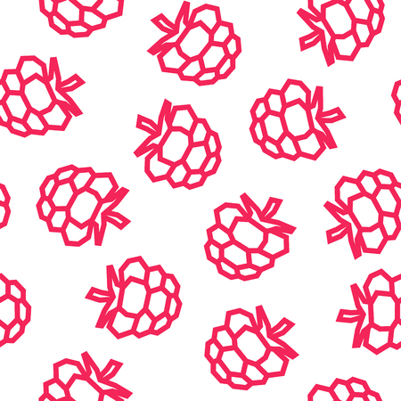 Raspberries low poly seamless pattern. Pink Raspberries isolated on white background.