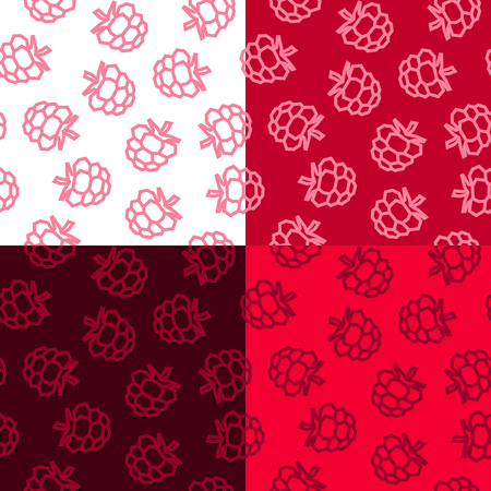 Raspberries low poly seamless pattern. 4 Color Variations 矢量图像