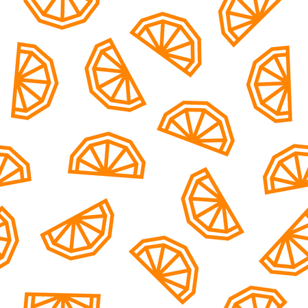 Orange low poly seamless pattern. Orange slices isolated on white background. Vector EPS10