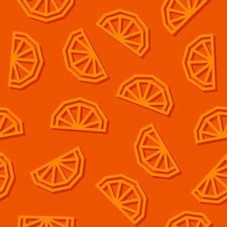 Orange slices low poly seamless pattern. Dark background. Vector EPS10