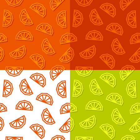 Orange slices low poly seamless pattern. 4 color variations. Vector EPS10