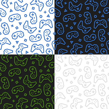 Gaming Controllers seamless pattern. 4 variations. Vector EPS10