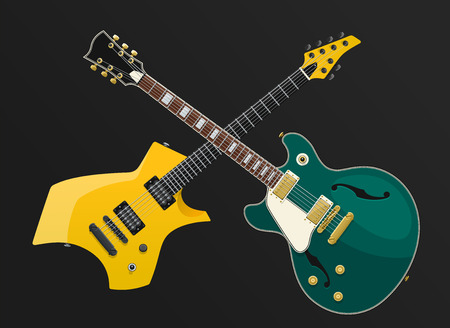Vintage and modern, green and yellow crossed electric guitars isolated on a black background. Vector EPS10