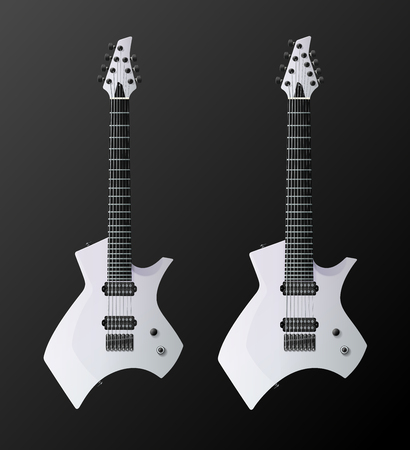 White Modern Electric Guitars. 7-string and 8-string variations. Easy Color Change. Vector EPS10