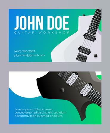 Guitar Workshop Visit Card Template. Vector EPS10 矢量图像