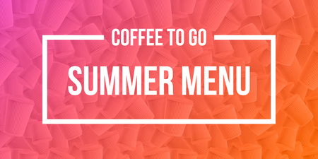 Coffee to go summer menu banner concept. Ripple cups gradient background with modern duotone effect. Vector EPS10