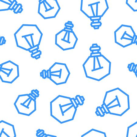 Light Bulbs seamless pattern. Blue objects on white background