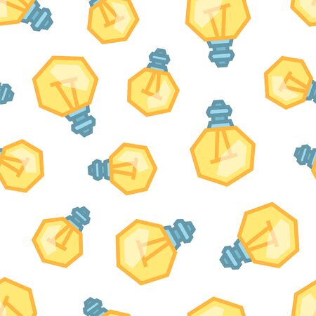 Yellow Light Bulbs seamless pattern. Color objects on white background