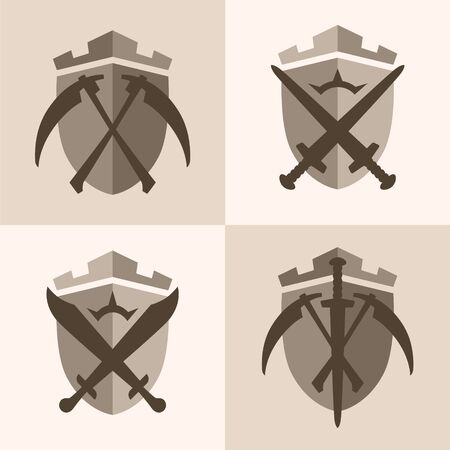 Fantasy Scythe Blazons, Scythes and swords. 4 variations. Vector EPS10