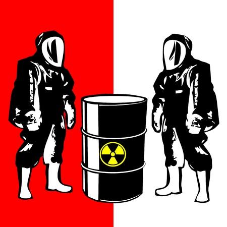 radioattivo: Persona in tuta rischio biologico Vettoriali