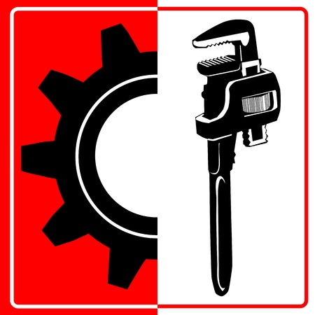 adjustable: Wrench and gear icon - worker sign Illustration
