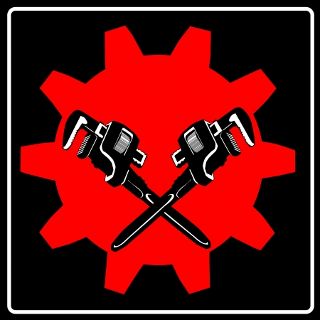 Wrench and cogwheel - sign Vector