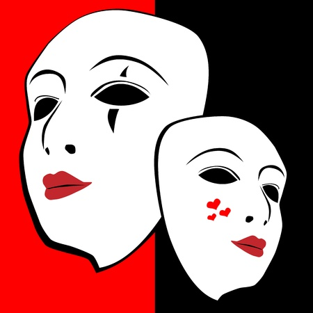 Masks on red-black background