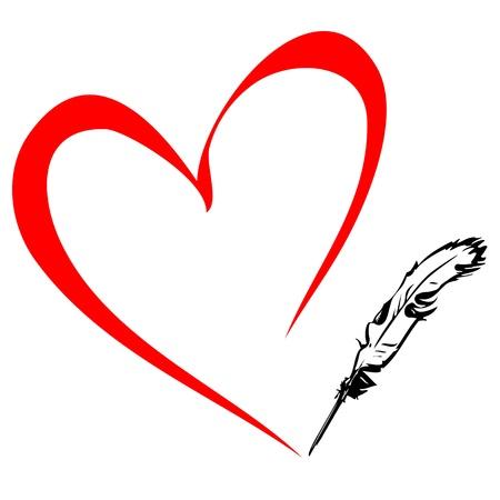 kalp: Kalem kalp çizer Çizim
