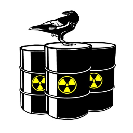 Three radioactive barrels Stock Vector - 14777188