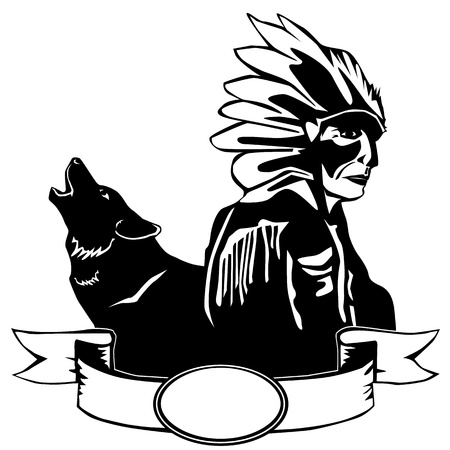 redskin: Red Indian and wolf
