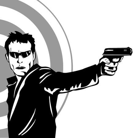 hombre disparando: El hombre disparando un arma de fuego
