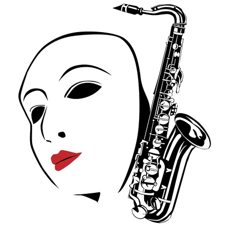 White mask and saxophone  Vector