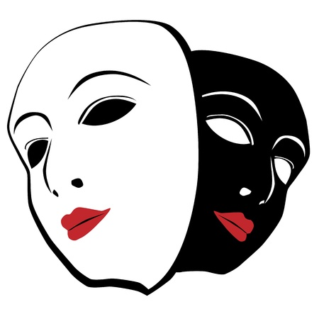 theatrical: White and black mask