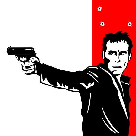 hombre disparando: Hombre de disparos en un blanco