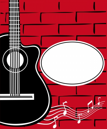 Guitar and a brick wall Vector