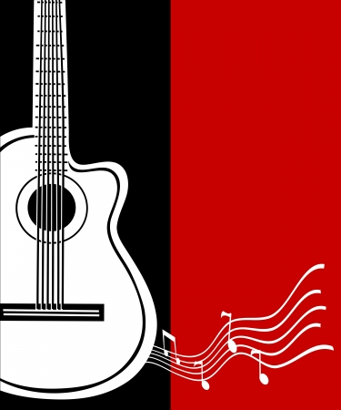 fretboard: Classical vector guitar. Musical greeting card.