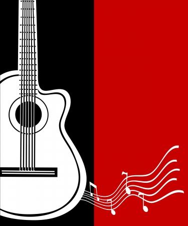 Classical vector guitar. Musical greeting card.