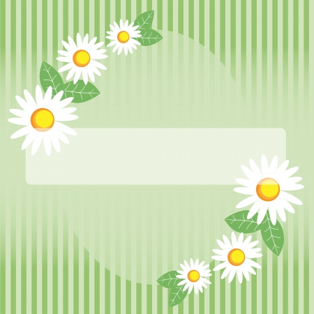 Seamless spring chamomile on green striped background Vector