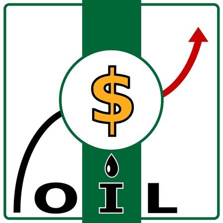 Olieprijs illustratie van ruwe olie en dollarteken met pijl