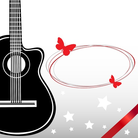 guitarra clásica: Guitarra cl�sica tarjeta de felicitaci�n musical Vectores