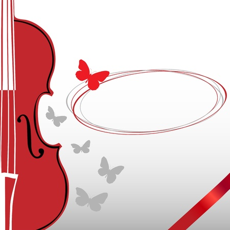 Violin and Butterfly Vector