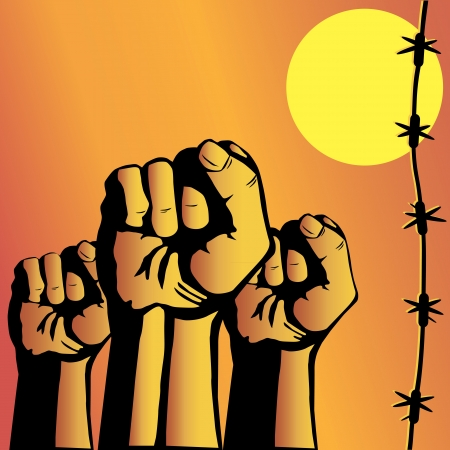 Fist and barbed wire Vector