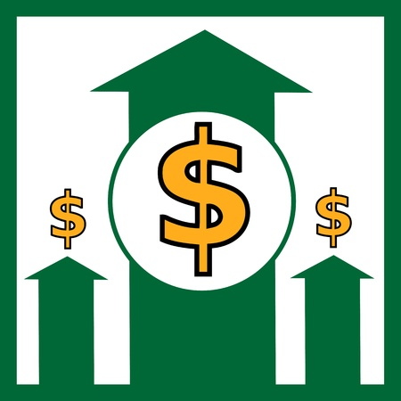 changes in equity: Rising dollar - vector illustration Illustration