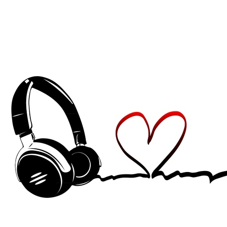 Heart with headphones - the concept of a music lover