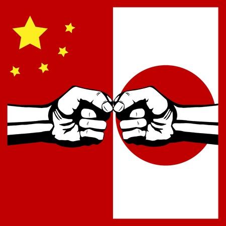 충돌 중국과 일본 일러스트