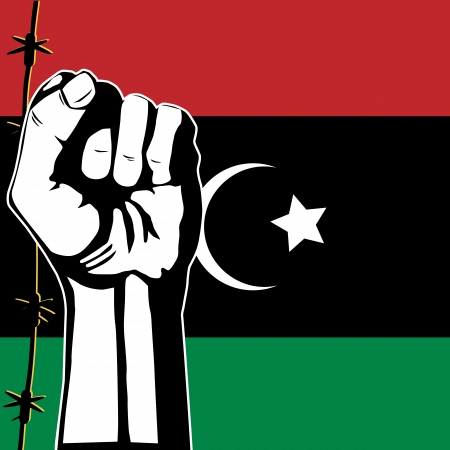 dictatorship: Vector illustration of Libyan rebels and flag