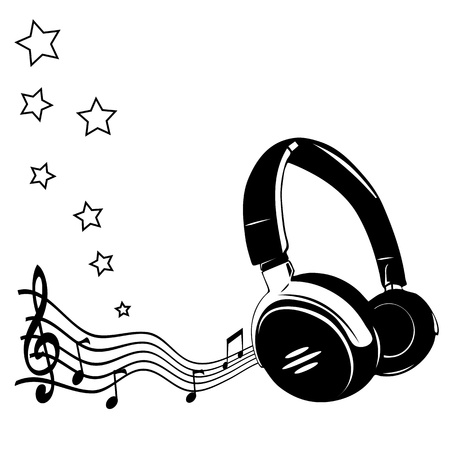 music listening: Headphones and notes - concept of a music