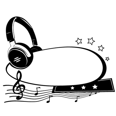 Headphones and notes - music background