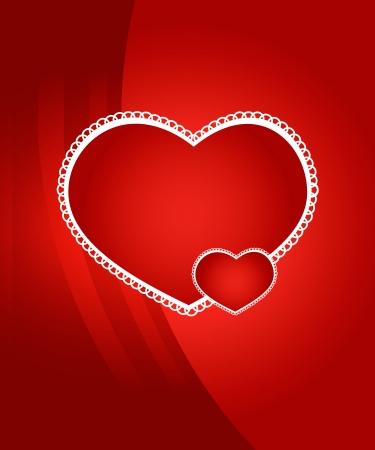 dessin coeur: Fond le jour de Valentine avec deux coeurs Illustration