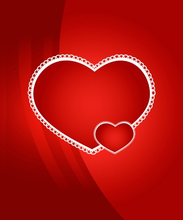 Valentine's day background with two hearts Vector
