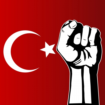 Turkish flag and fist protest
