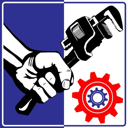 Wrench drawing blueprint Stock Vector - 15687704