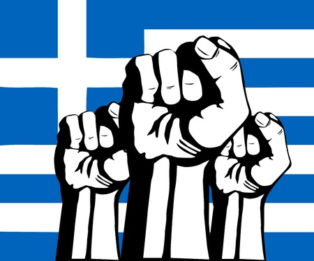 Flag of Greece.Crisis and protests in Greece Vector