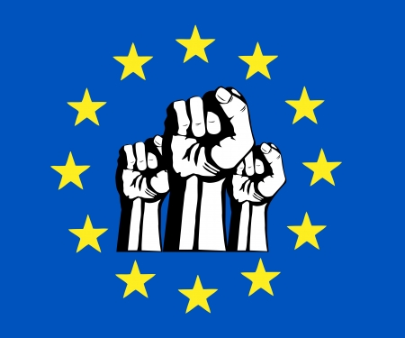 European Union fist, flag, protest  Vector