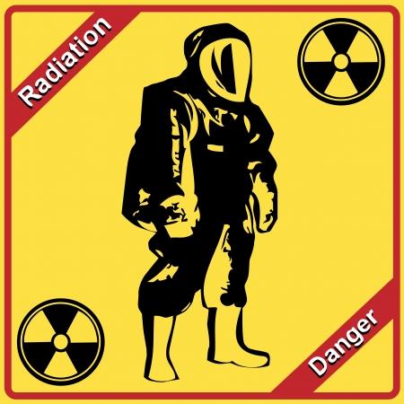Radiation suit - sign radiation  Danger