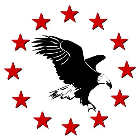 aguila calva: American Eagle y las estrellas Vectores