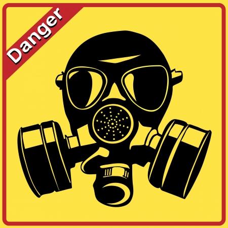 mascara gas: Gas máscara. Señal de peligro