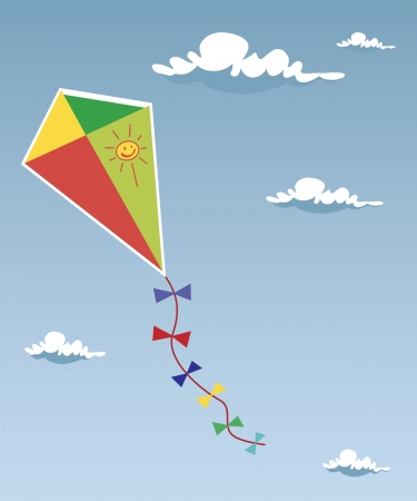 Kite up in the clouds Illustration