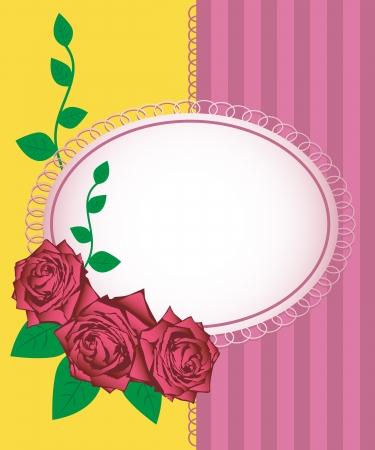 beautifu: Greeting card - vector illustration of pink roses