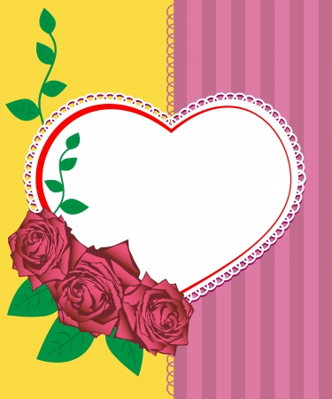 Greeting card - vector illustration of pink roses and heart Stock Vector - 15935594